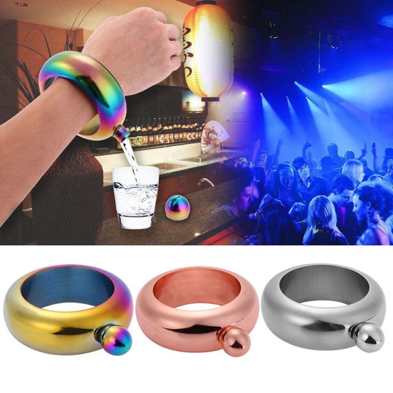 Free Flask Bracelet 3.5oz Stainless Steel Hip Flask Funnel Bangle Jug Whiskey Bottle Alcohol Hip Flask Bracelet Jewelry Gifts