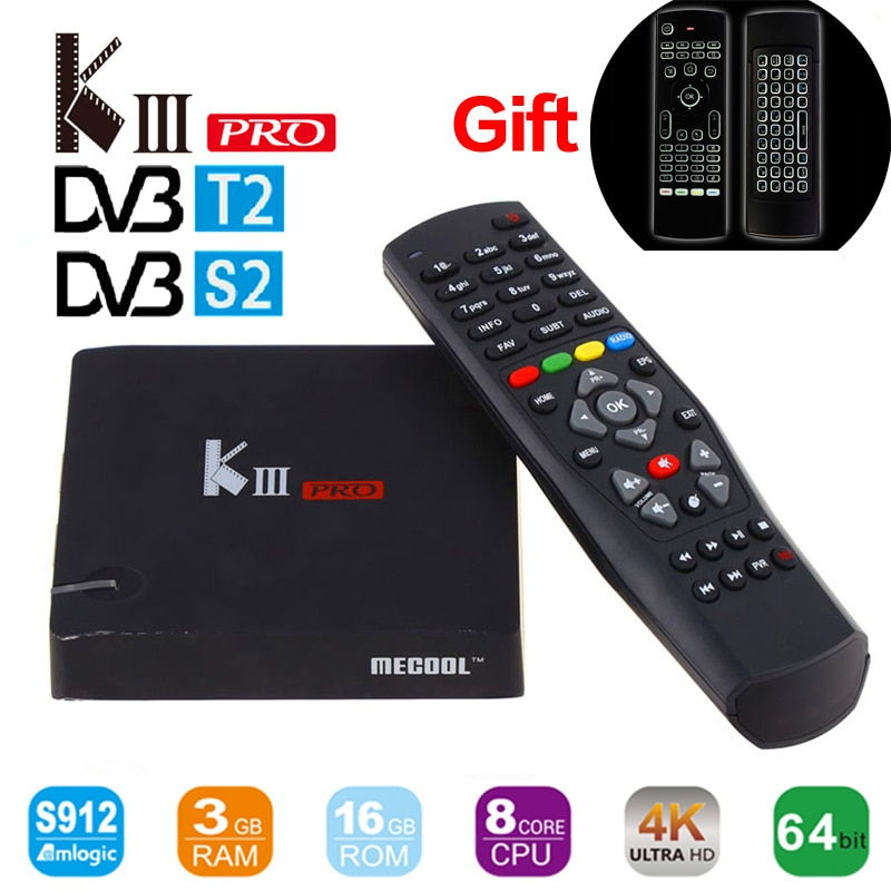 MECOOL matar Pro DVB S2 DVB T2 Android6.0 Dispositivo de TV inteligente Amlogic S912 Octa core BT 4,0 3 GB/16 GB 2,4G/5G Wifi 4K Reproductor Multimedia Inteligente