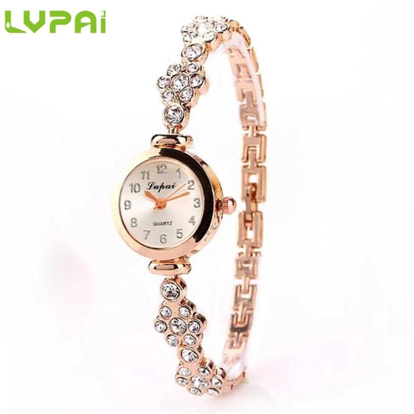 2017 lvpai moda mujer señoras unisex rhinestone pulsera reloj de cuarzo Fe27