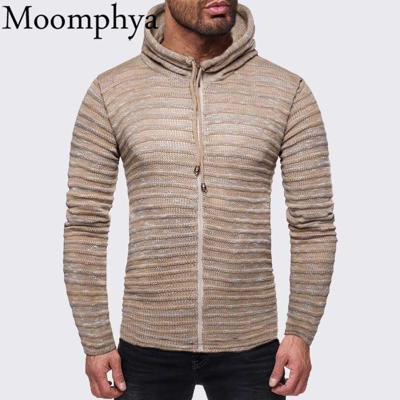 Moomphya Hooded zipper men sweater cardigan Streetwear pleated pull homme sweater hip hop striped coat mens sweaters 2018