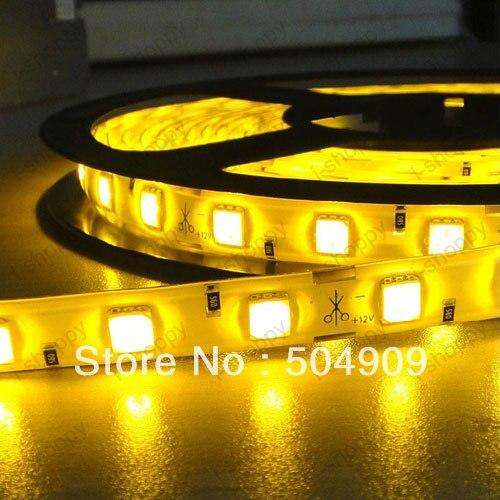 Yellow 5M 300-LED Light Strip Lamp Bar Roll Soft Flexible String SMD5050 Waterproof Showcase Car House Decor DC 12V