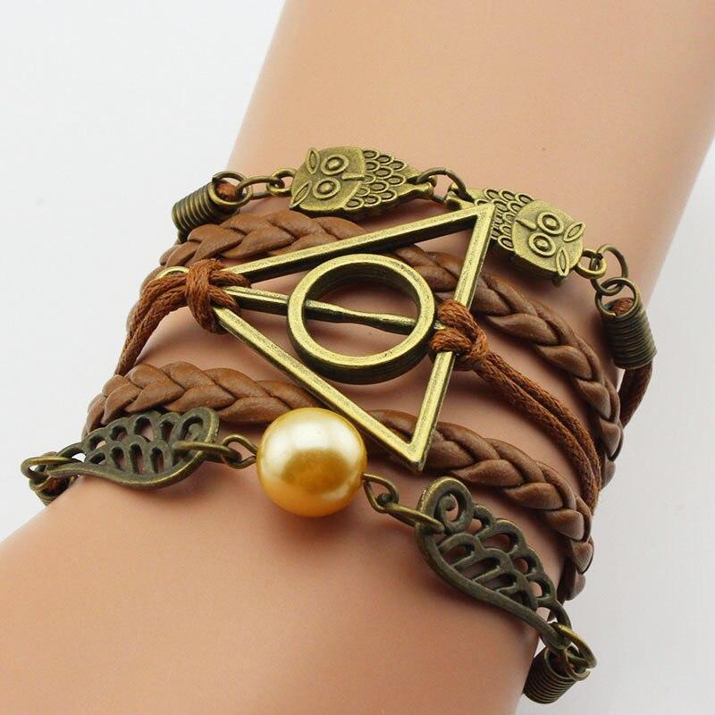 Pulsera hecha a mano nuevos cordones de cera trenzada, amuletos de cuero...