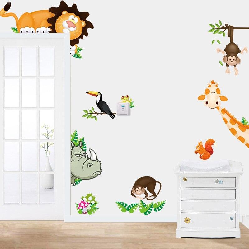 Zoo Giraffe Monkey Lion Cartoon wall sticker for kids room home decor DIY art background decals decorations cute animal stickers