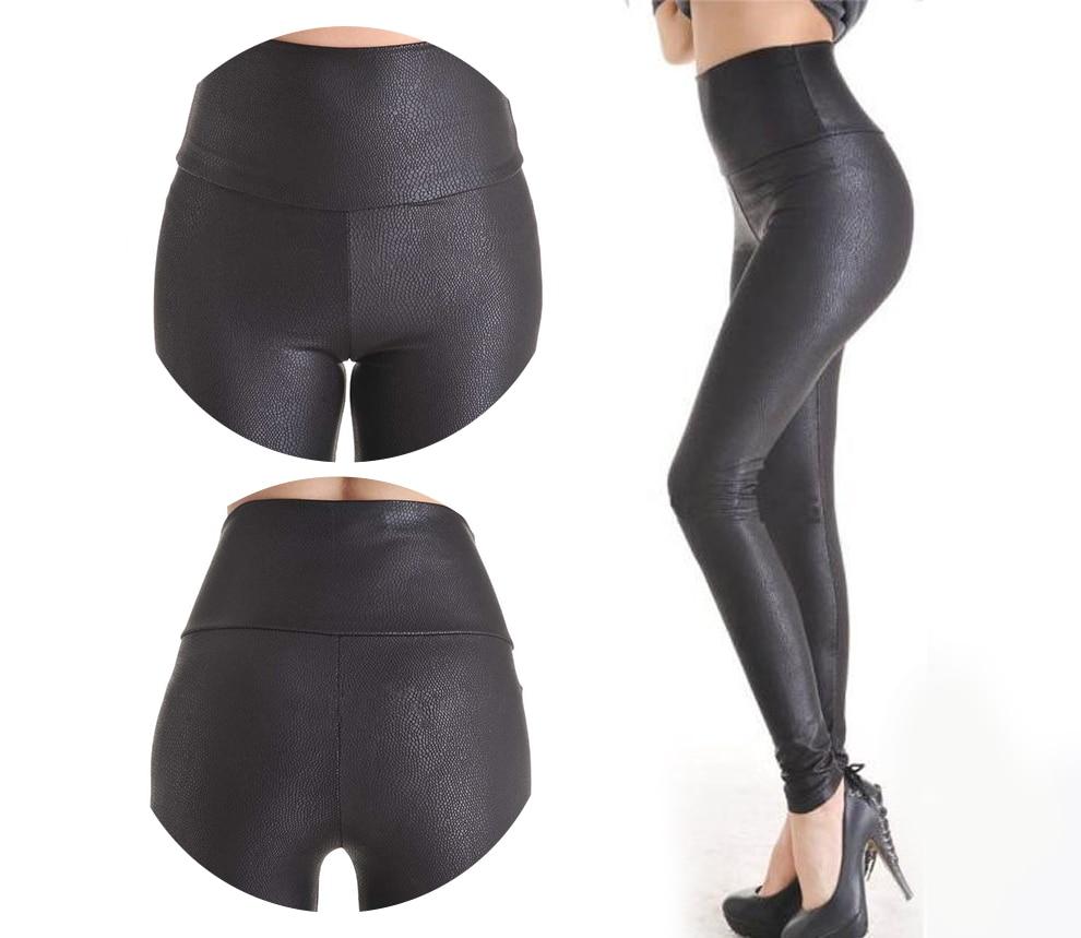 2018 New Sale Fashion Serpentine Sexy Leggings Womens Leggins Stretch High Waist quality Faux Leather Pants Plus Size YAK0010