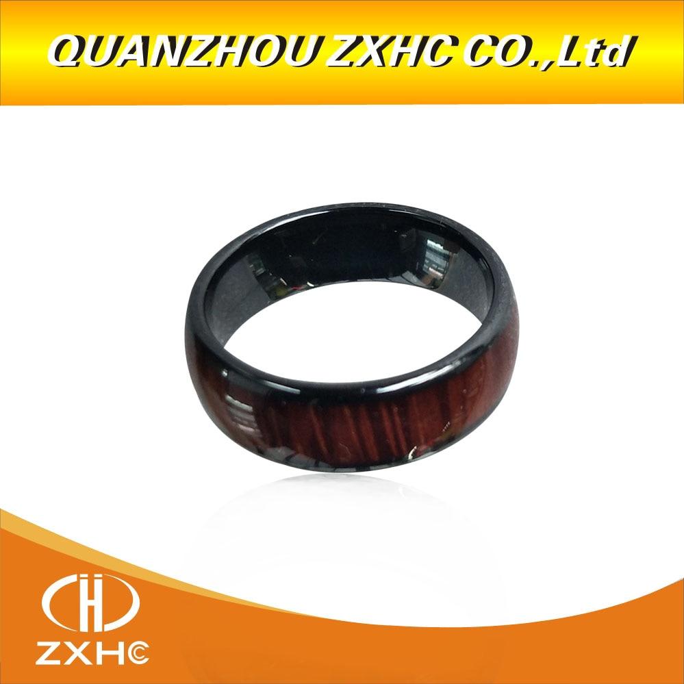 125khz 1356mhz t5577 ou uid chip rfid madeira cor ceramica inteligente dedo anel