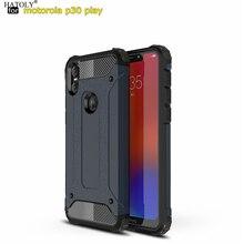 HATOLY pour Coque Moto un étui armure lourde mince couverture en caoutchouc dur Silicone étui de téléphone pour Motorola Moto One P30 Play 5.9