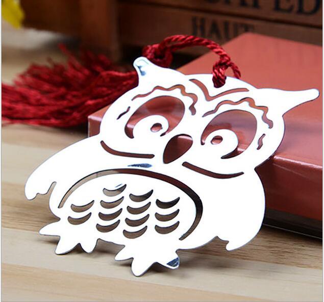 Envío Gratis, 10 unids/lote, marcapáginas de búho de metal con borlas, caja de regalo con cinta para regalo de fiesta o Souvenirs