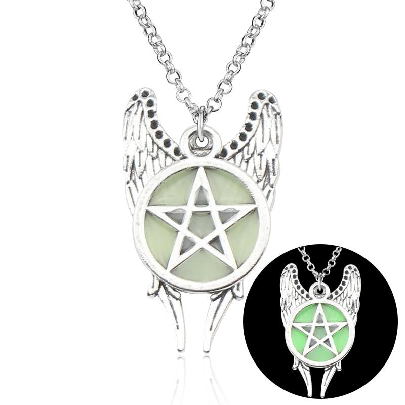 Quente antigo pentagrama anjo asas pingente sobrenatural colar jóias feminino colar luminoso brilho no escuro presente