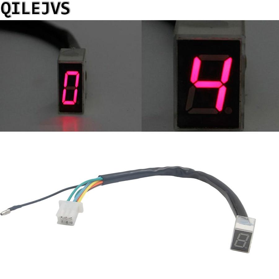 QILEJVS 7-линейный модифицированный светодиодный цифровой индикатор переключения скоростей для мотоцикла, красный #1