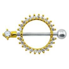 14g الكريستال الذهب حلقات للحلمات من الفولاذ مجوهرات الشرير الجراحية الصلب مجوهرات للجسم النساء الرجال مثقوب حلقات للحلمات من الفولاذ مجوهرات كليب على مثير