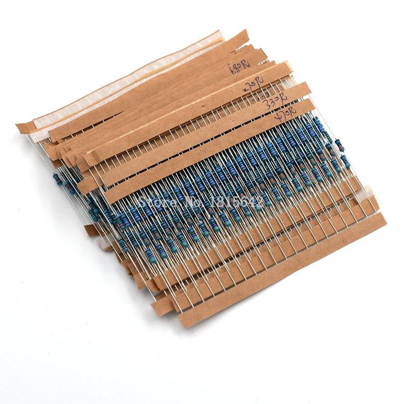 Комплект металлических пленочных резисторов, 600 шт./лот, 1/4 Вт, 1% комплект резисторов в ассортименте, набор 10 ohm-1M Ом, набор сопротивлений 30 значений, по 20 шт.