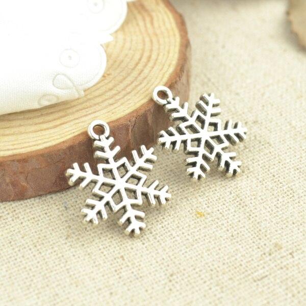 15 pièces 23*17mm Antique couleur argent ton noël flocons de neige breloques bijoux à bricoler soi-même faisant 2524
