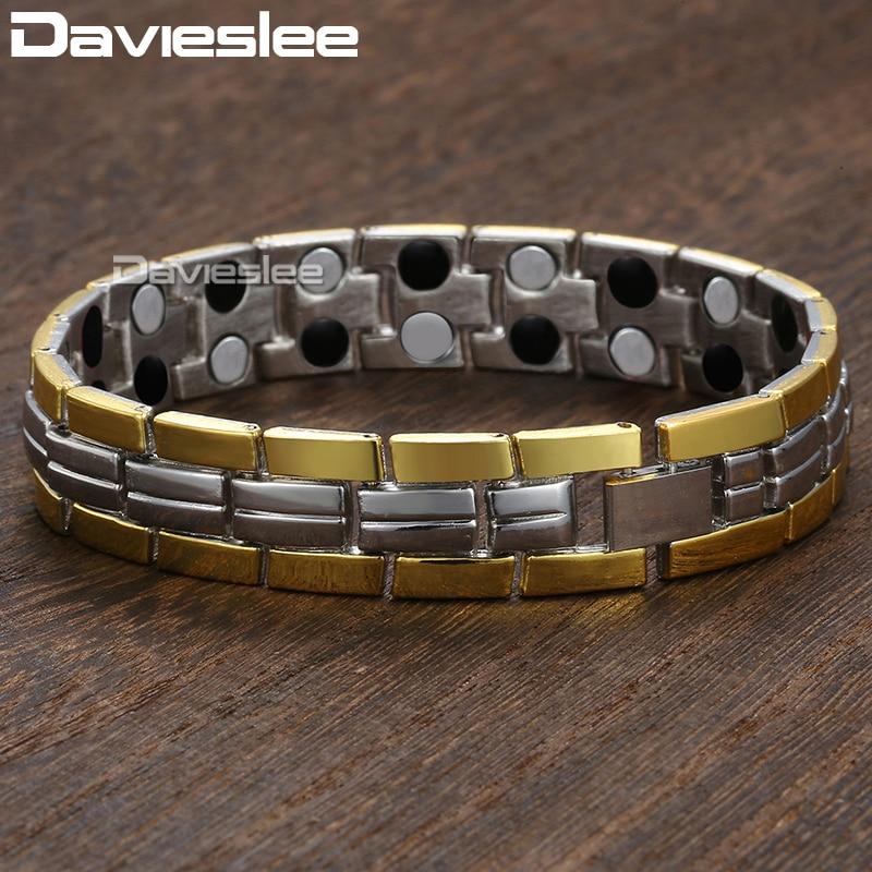 Davieslee magnético pulseira para homem energia ouro prata cor corrente de aço inoxidável pulseiras presentes dos homens 13mm 8 polegada dkb608