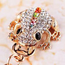 Klassische kröte frösche glück schlüsselanhänger mode kristall auto keychain charme tasche anhänger schlüsselring schlüsselanhänger