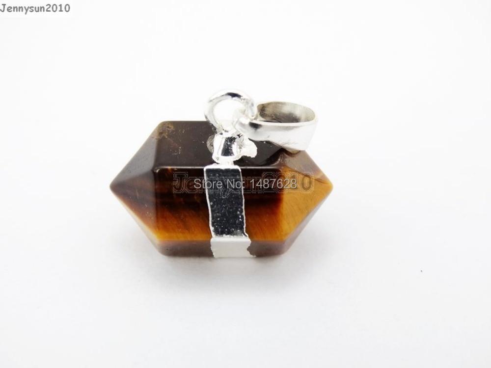 Ojo de Tigre Natural gemas piedras Horizontal Petite Pepita Hexagonal señaló Reiki Chakra plata colgante encanto Beads10Pcs/paquete
