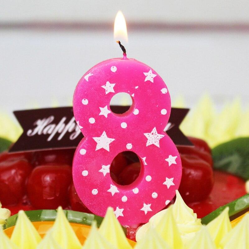 Velas para pastel de cumpleaños de 1-5 con estrellas de cinco puntas en colores rosa y azul para niños, decoración de velas con estrellas y puntos de Color sólido