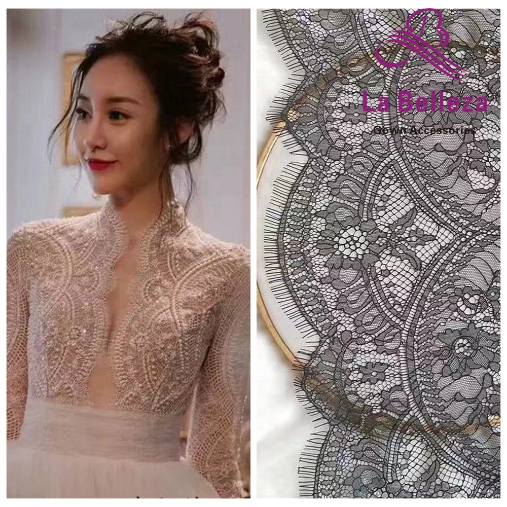 La Belleza Off Blanco/Negro pestañas Francia tela de encaje pestaña encaje de novia 150x300cm una pieza
