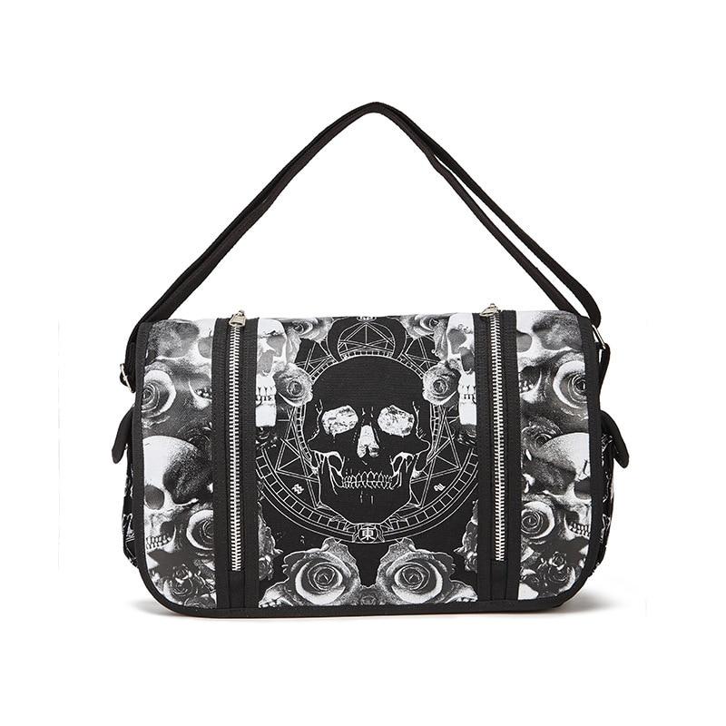 JIEROTYX-حقيبة ظهر للجنسين مقاومة للماء ، حقيبة عمل مدرسية ، Mica Skulls ، أبيض وأسود ، قوطي ، كروس ، توصيل مباشر