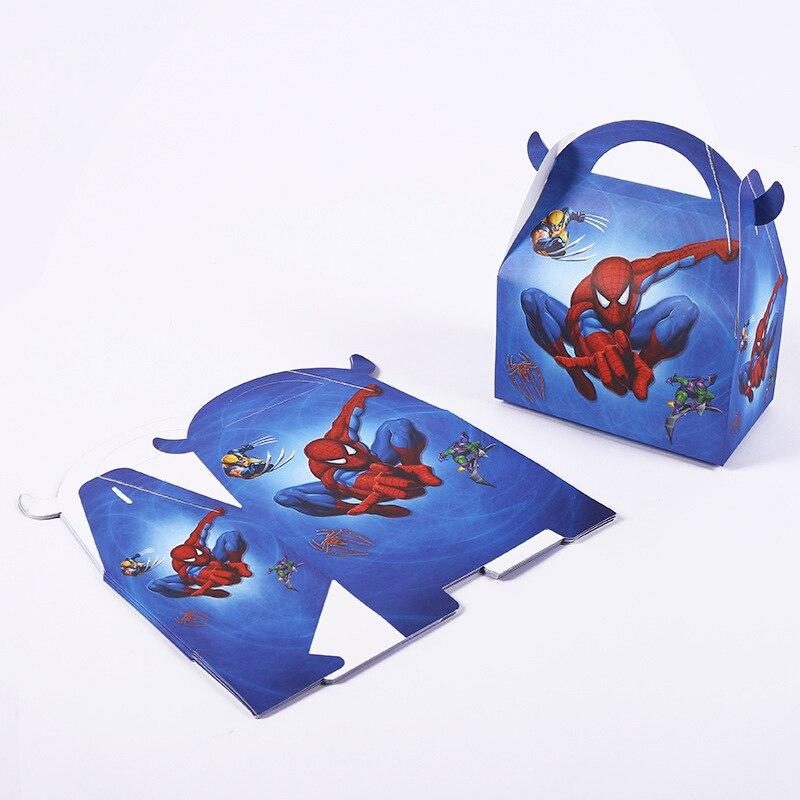 6 unids/lote caja de papel para dulces Hero Spiderman para regalos, bodas, cumpleaños, decoración de baño de bebé, suministros para fiestas infantiles