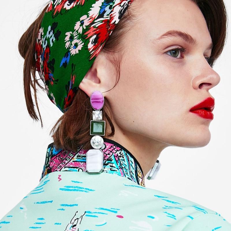 Женские серьги-подвески AOTEMAN, винтажные геометрические серьги с полудрагоценными камнями, оптовая продажа, 2019
