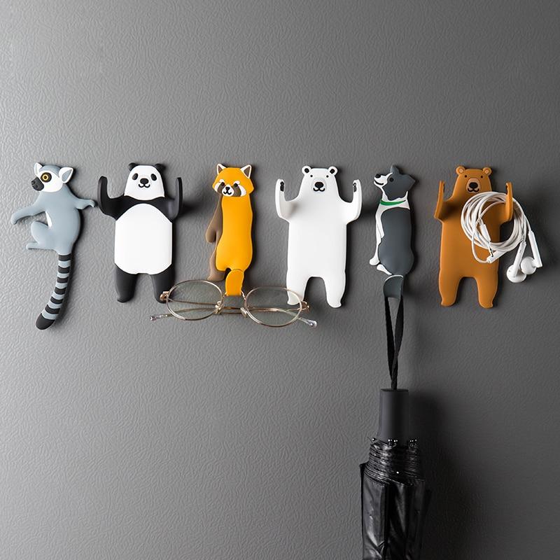Kedves állati design horog hűtőszekrényhez és falhoz, kivehető konyhai horgok, lakberendezési kulcstartó, fali tartó, fali horog, mosható