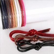 1 para woskowane bawełniane okrągłe sznurowadła do butów skórzane wodoodporne sznurowadła męskie Martin buty Shoelace Shoestring długość 80/120 cm