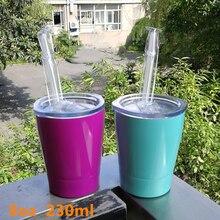 Kleinkind milch tumbler kinder wasser becher 8 unzen 230ml 18/8 edelstahl doppel wand Keine vakuum nippen tasse freies stroh rutsche deckel