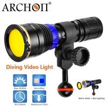 ARCHON étanche 100 m 12W lumière de plongée bleu + blanc chaud COB LED lumière photographique sous-marine HD vidéo photo éclairage de plongée