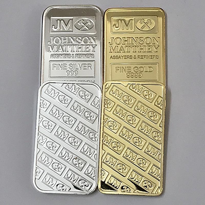10 Pcs  Mix sample order Johnson Matthey bar 1 OZ 24K real gold silver plated badge 50 x 28 mm souvenir coin bar
