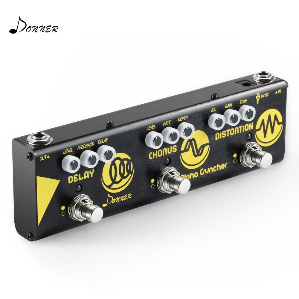 Donner alpha cruncher 3 em 1 efeito de guitarra pedal atraso chorus efeitos distorção pedal com adaptador guitarra acessórios