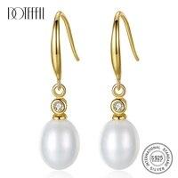 doteffil whitepinkpurple 12mm pearl 925 sterling silver aaa zircon gold earrings for women wedding engagement charm jewelry