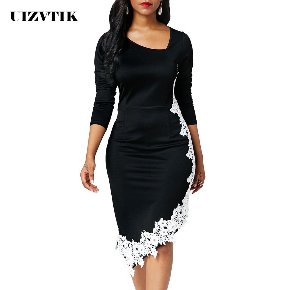 Pathcwork vestido de renda feminina verão outono 2020 casual plus size magro irregular escritório bodycon vestido vintage sexy longo vestido de festa