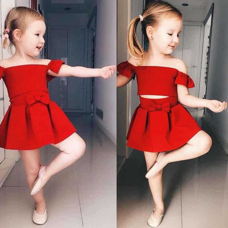 1 2 3 4 5 years Girls Red Dress Off Shoulder Two Piece Toddler Girls Princess Elegant Dress For Girls Sexy Girls Summer Dress