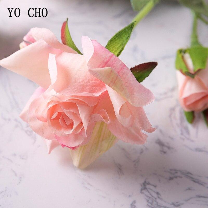 YO CHO bridal bouquet pink wedding flowers bridal bouquets fabric flower bouquet Delicate Rose Flower Wedding Bouquet home Decor