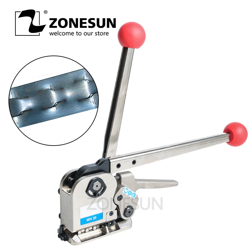 ZONESUN Manual Buckle Free Steel Belt Strapping Machine Seamless Strapping Tool For Width 16/19/25mm Thickness 0.5mm-0.75mm