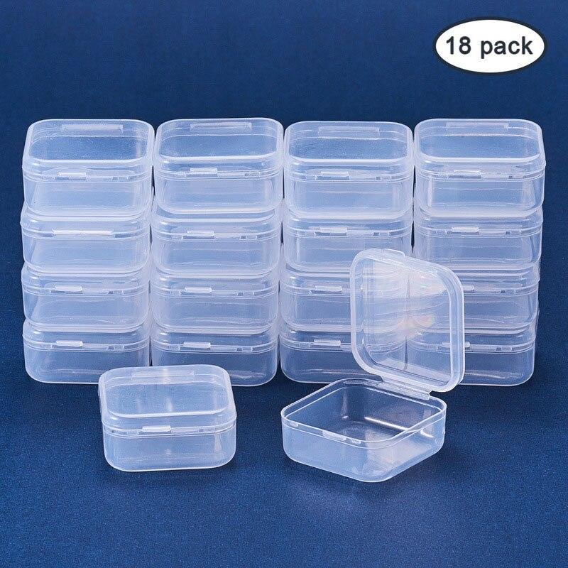 18 шт., маленькие квадратные прозрачные пластиковые коробки для хранения ювелирных изделий