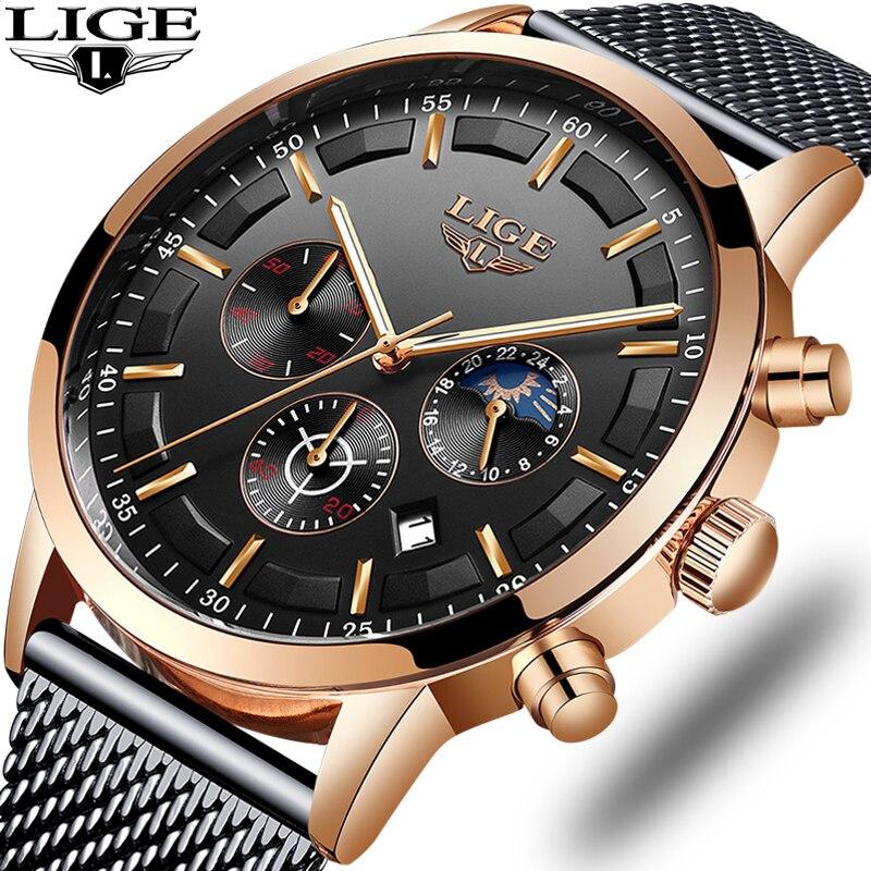 LIGE Mens Watches Stainless Steel Grid Quartz Watch Men's Multifunction Chronograph Date Display Sport Watch Relogio Masculino