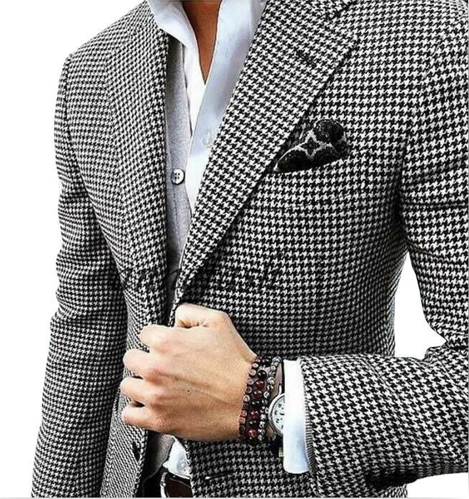 Custom made woolen houndstooth blazer Casual suit wedding suit houndstooth jacket+black woolen pants+vest