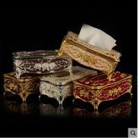 High qulity European metal Napkin Box Home Napkin Paper Holder Tissue Box tissue hold metal tin box decorations for home ZJH057