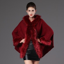 SWONCO Cape Coat Women Woolen Jacket Cape Winter Cloak Hooded Faux Fur Capes For Women Ponchos And Capes Ponchos Y Capas Mujer