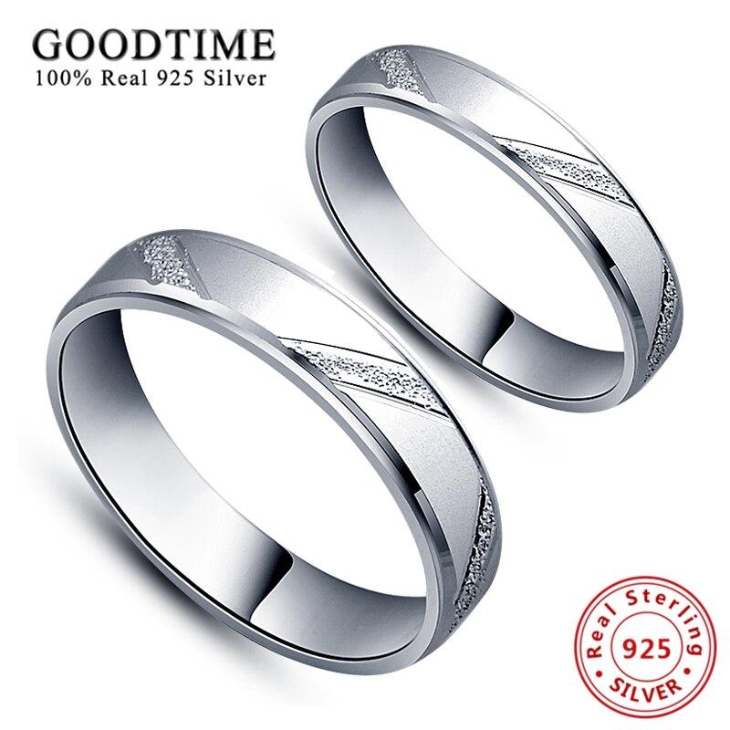 1 pçs anéis 925 prata esterlina jóias estilo simples lovers anel micro esfrega casamento jóias prata casal anéis para mulher/homem
