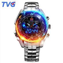 reloj hombre 2020 TVG Men Sports Watches Stainless Steel waterproof Quartz Watch Led Digital Analog