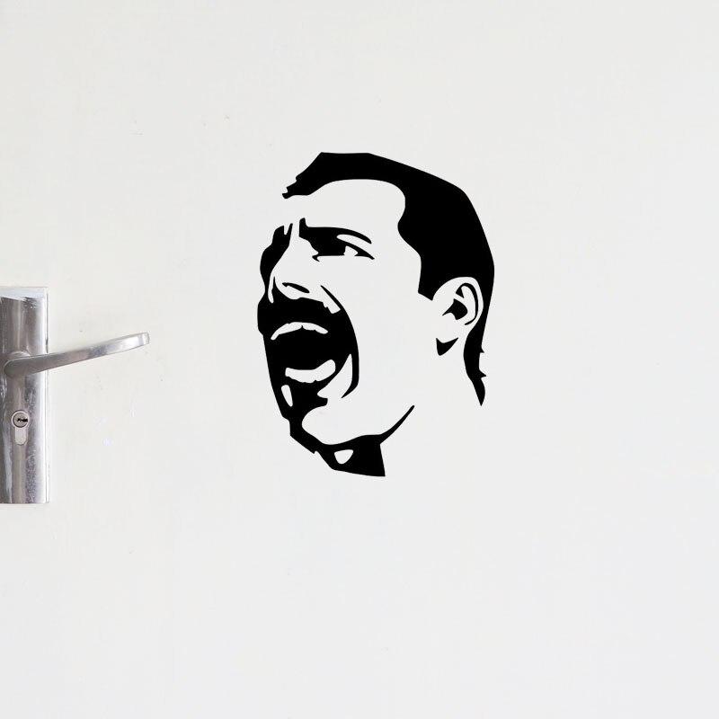 YOJA – autocollants muraux classiques Freddie Mercury pour porte de chambre à coucher, 18.2x25CM, D1-0144