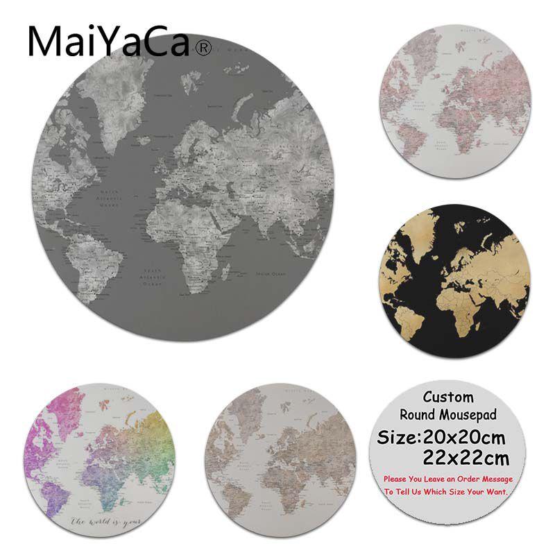 MaiYaCa Piel Gris oscuro mapa del mundo de acuarela con ciudades antideslizante tamaño duradero de silicona para 20x20cm personalizado impreso mouse pad