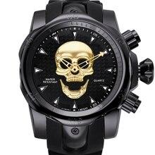 2019 top marque de luxe montre hommes nouveau 3D crâne fantôme montre-bracelet grand cadran rotatif Silicone bande sport montre-bracelet pour homme