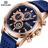 MEGIR New Mens Watches Top Brand Luxury Quartz Sport Watch Men Rubber Silicone Chronograph Waterproof Military Male Wrist Watch