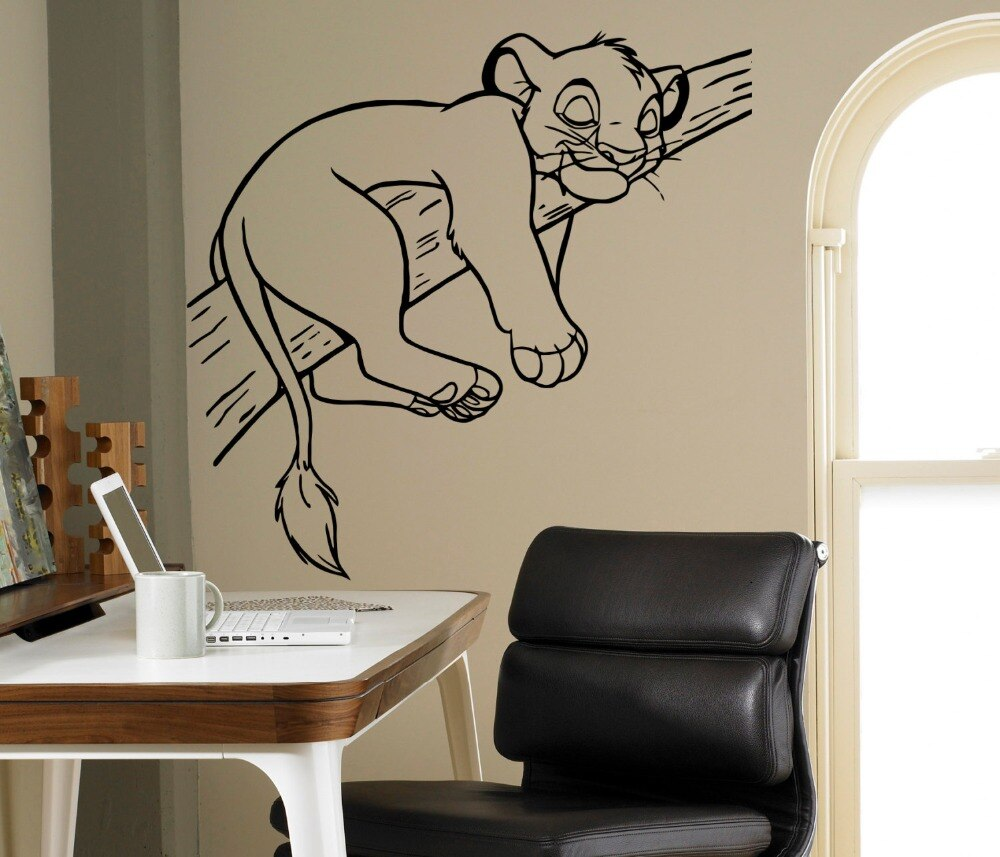 Sleeping Sinba Lion Cute Wall Sticker Cartoon Lion King Animals Wall Decals Home Bedroom Lovely Decor Wall Mural Decals M-23