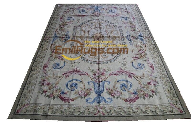 Tapete Magnífico Elegante Floral Antigo Handknotted lã Aubusson Artesanal Francês Chique Tricô Tapetes