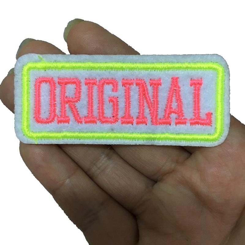 10 pçs rosa e néon verde original bordado ferro em remendos para roupas pequenas letras bordado applique crachá costura diy