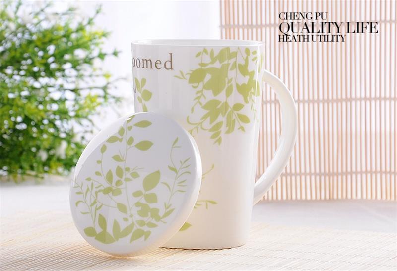 Taza de café de hueso de china de 500ML, taza termo con tapas de porcelana blanco liso, tazas y tazas nespresso de gran potencia zakka, cafetera espresso